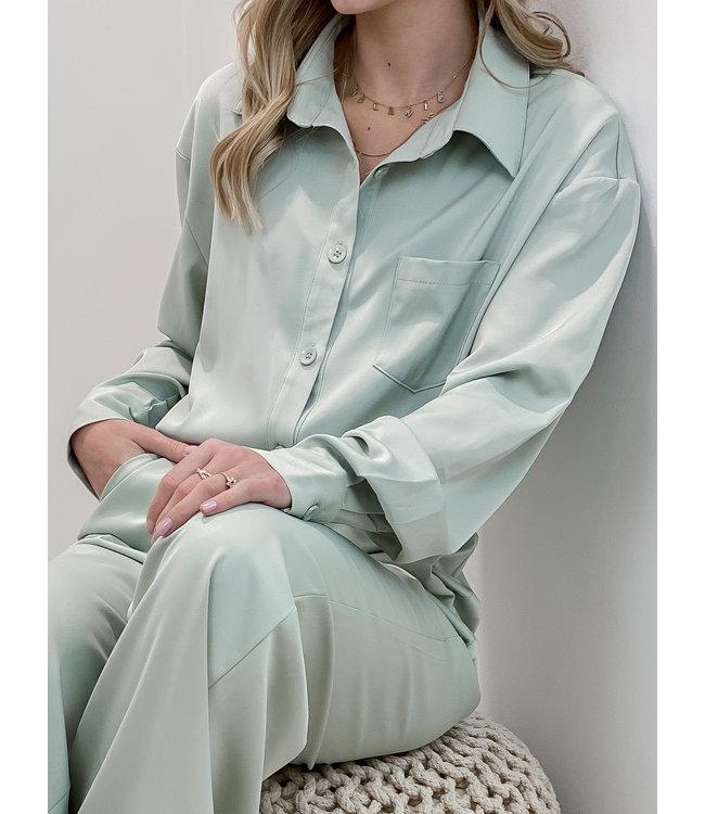 Silk stella blouse - mint