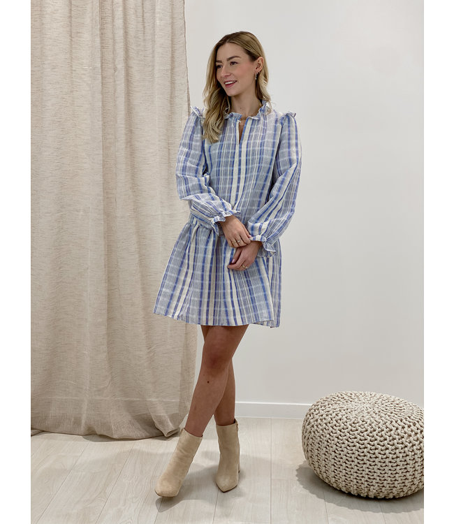 Linen stripe dress - blue