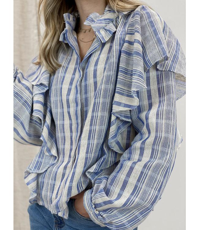 Linen stripe blouse - blue