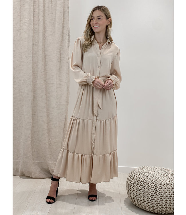 Cecilia dress long - beige