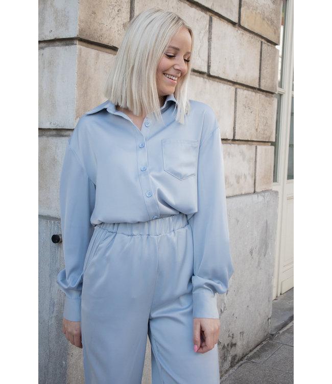 Silk stella blouse - babyblue