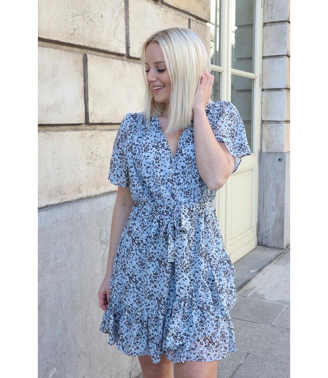 Blue leopard dress short sleeves