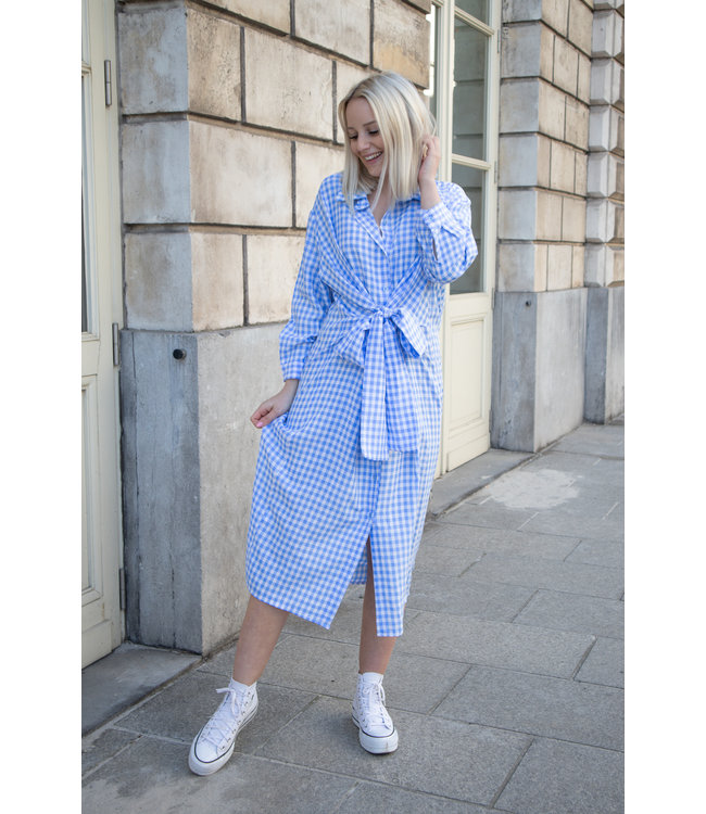 Checked wrap dress - blue