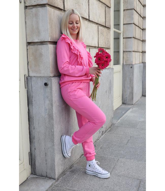 Lizzy lace jogging - fuscia