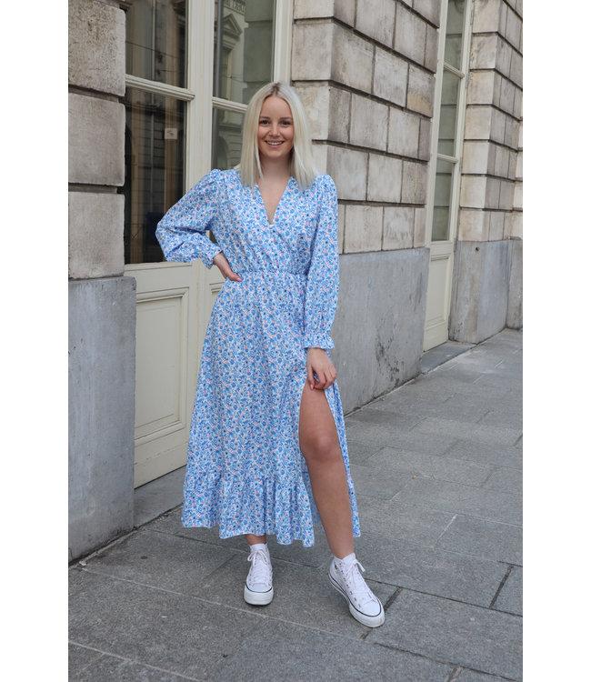 Aurella split dress - babyblue