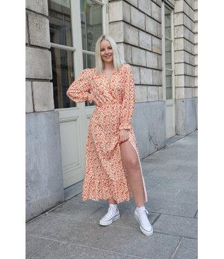 Aurella split dress - orange