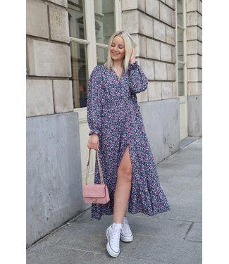 Aurella split dress - petrol pink