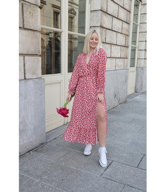 Aurella split dress - red