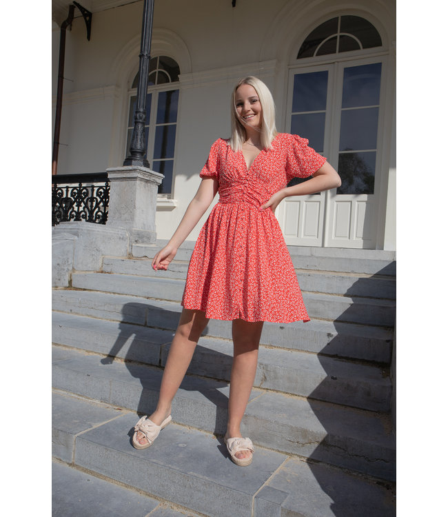 Julia dotted dress - red