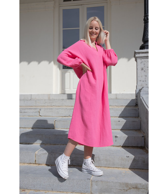 Oversized tetra dress - fuscia