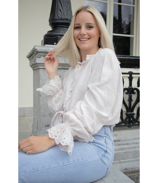 Tetra fringle blouse - nude