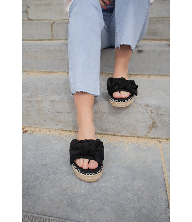 Bow slippers - black