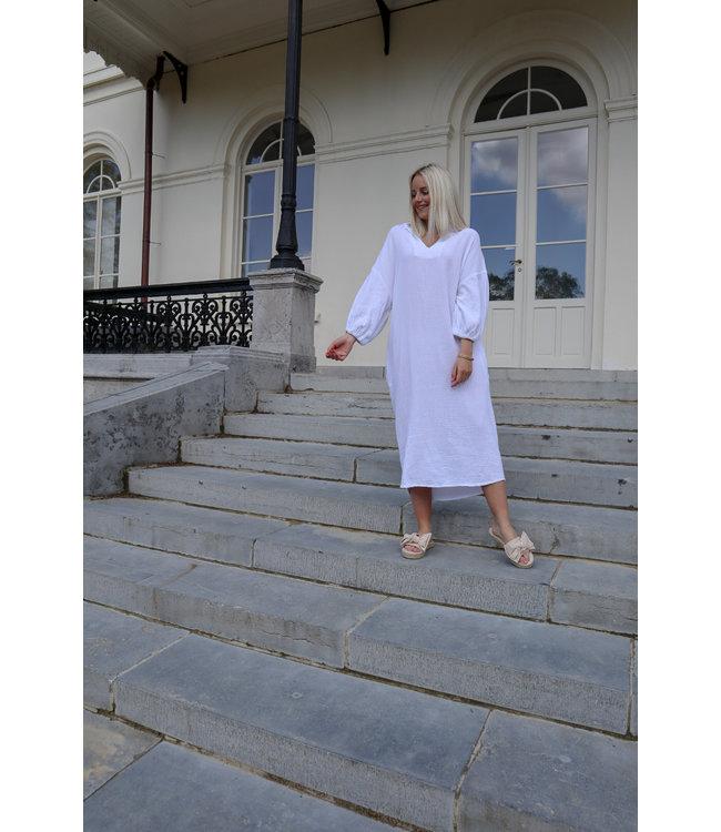 Oversized tetra dress - white
