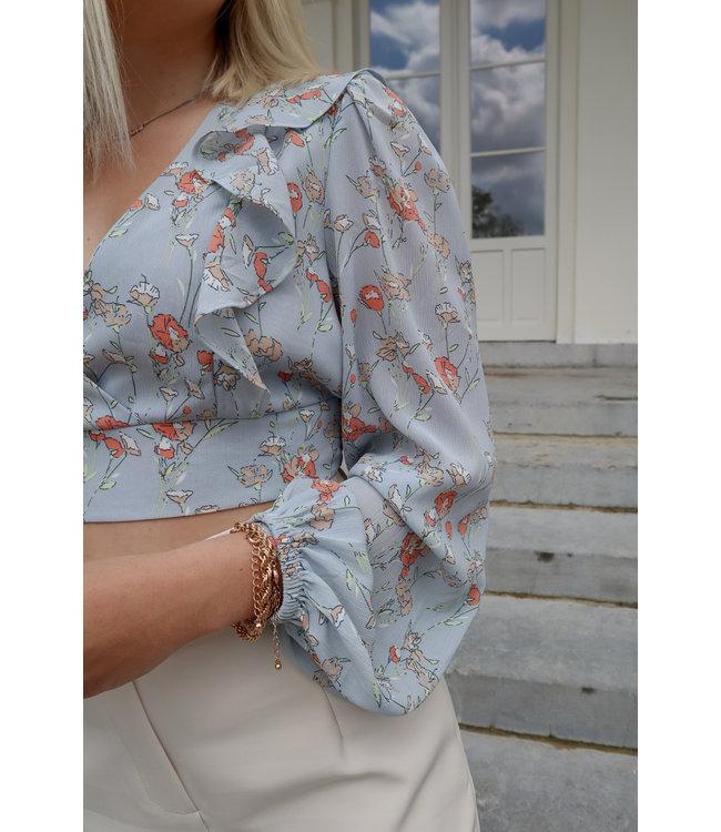 Floral crop blouse - blue