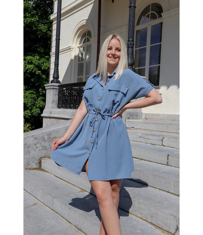 Balmain inspired dress - indigo blue