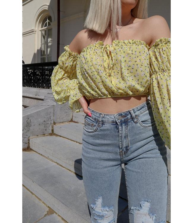 Daisy off shoulder crop top - yellow