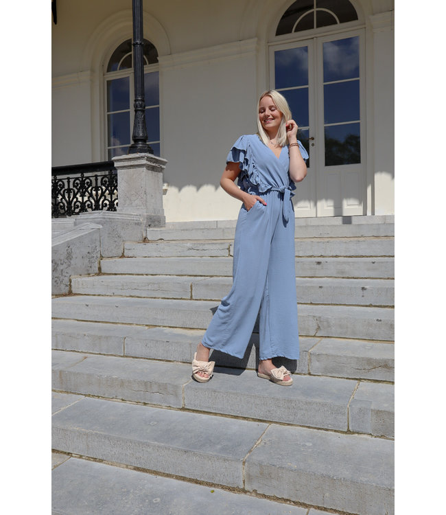 Flounce jumpsuit - indigo blue