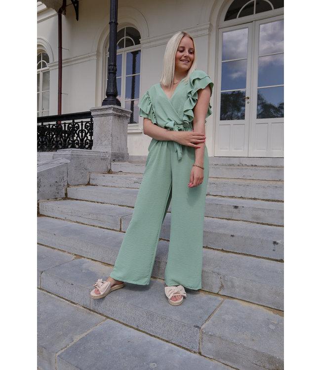 Flounce jumpsuit - green
