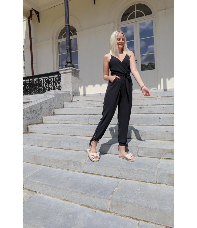 Bow jumpsuit - black