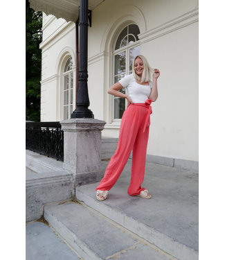 Linen trouser - coral