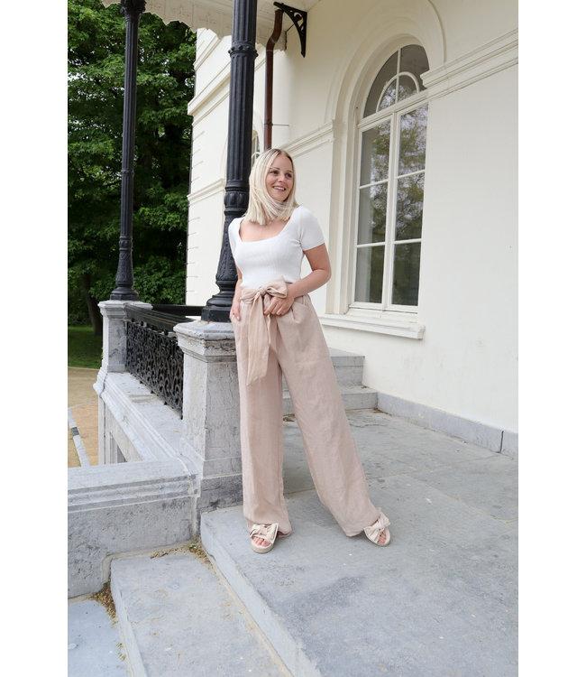 Linen trouser - nude