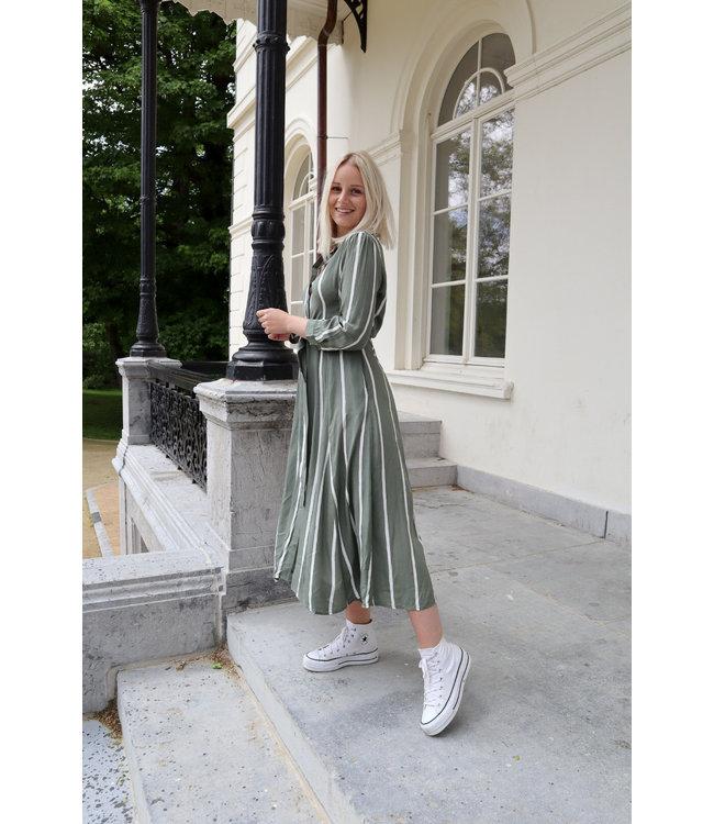 Stripe MAXI dress - kaki