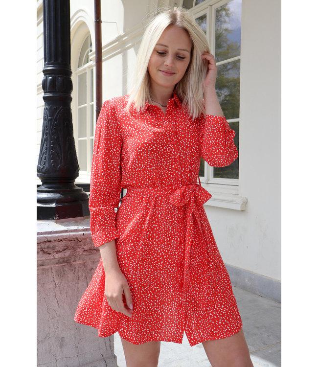 Midi dots dress - red