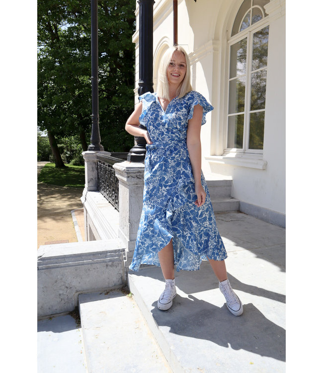 Floral wrap dress - blue