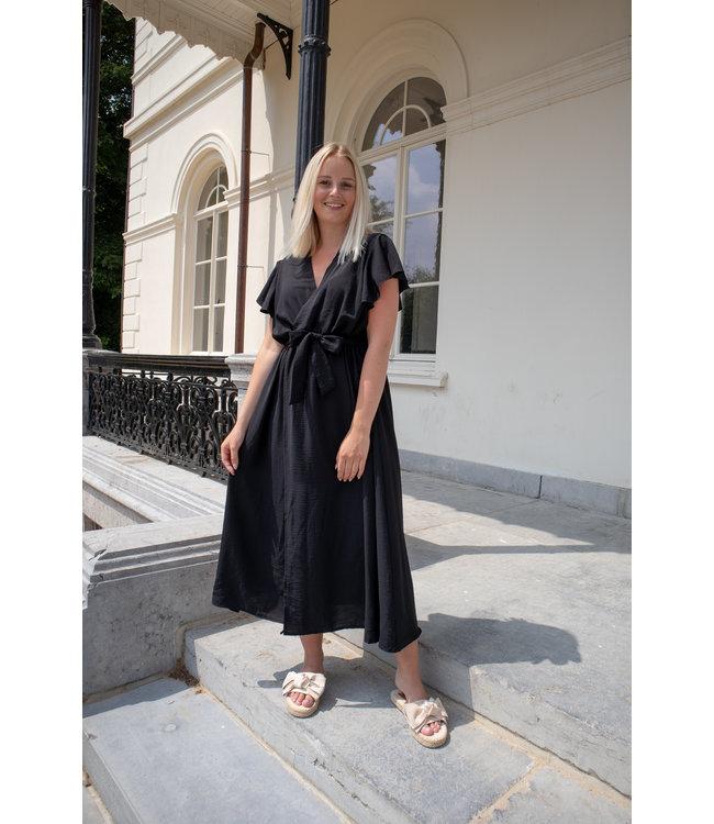 Flounce split dress - black
