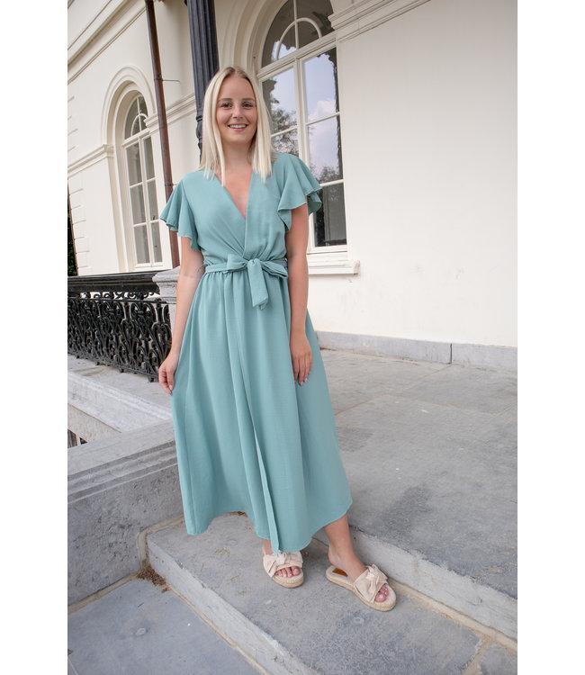 Flounce split dress - turquoise