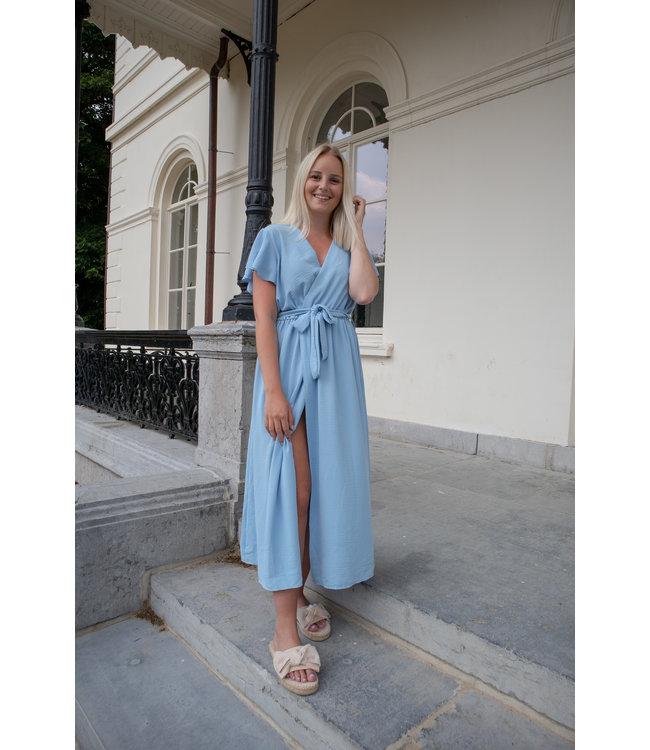 Flounce split dress - light blue