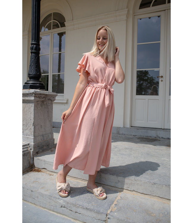 Flounce split dress - peach