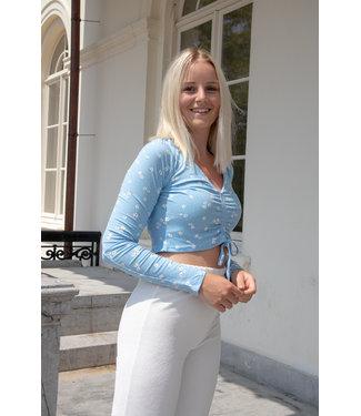 Liza flower shirt - blue