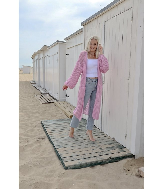 Long knitted gilet - pink