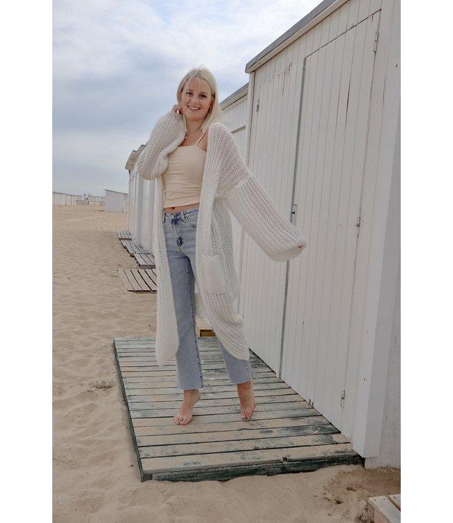 Long knitted gilet - white