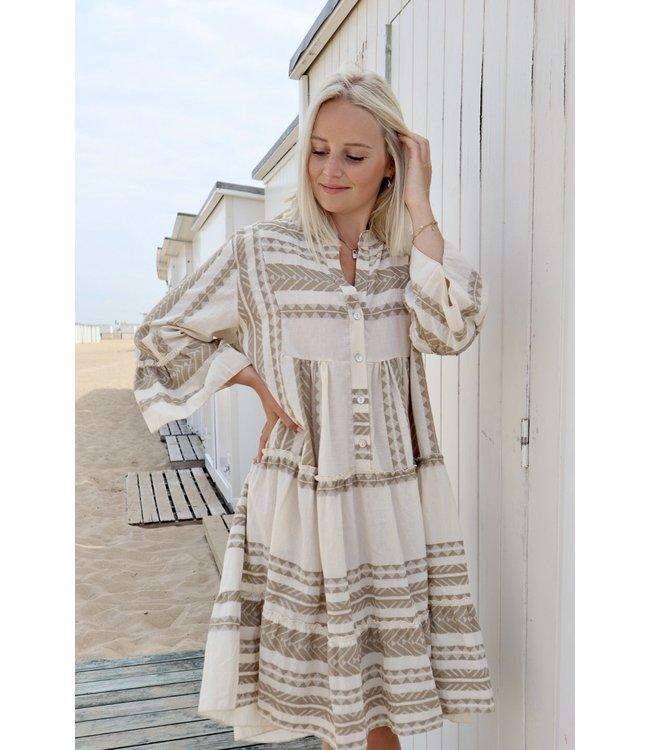 Boho short dress - taupe