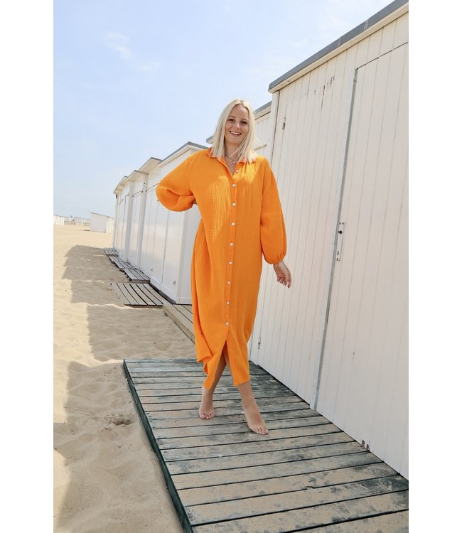 Button tetra dress - orange