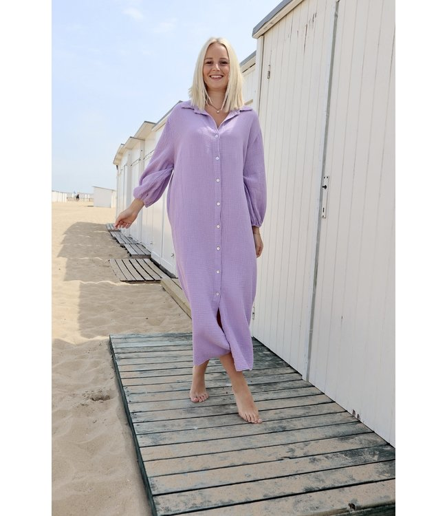Button tetra dress - lila