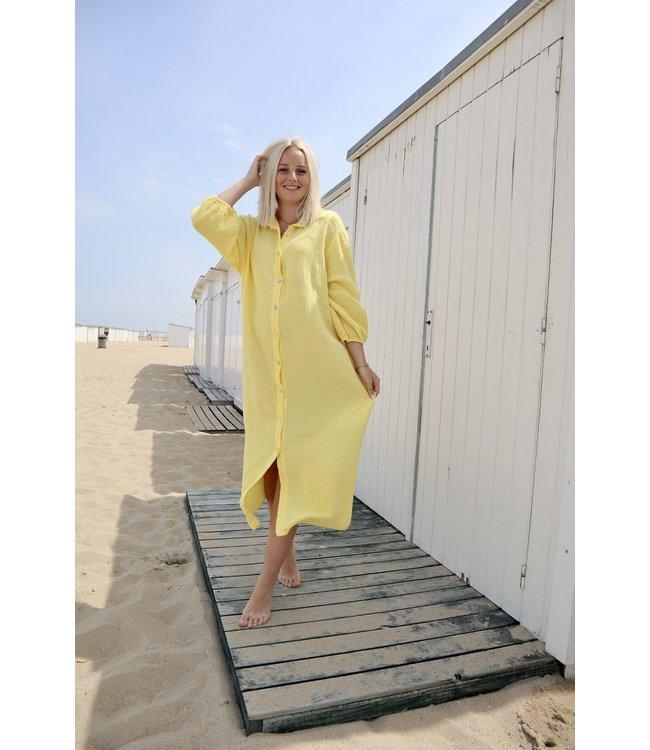 Button tetra dress - yellow