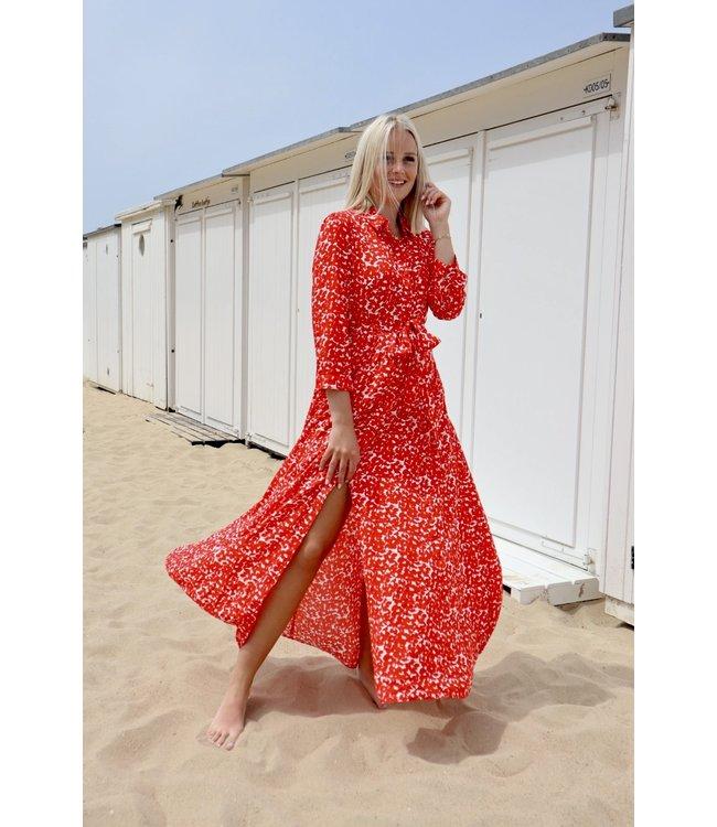 Flower jenner dress - red