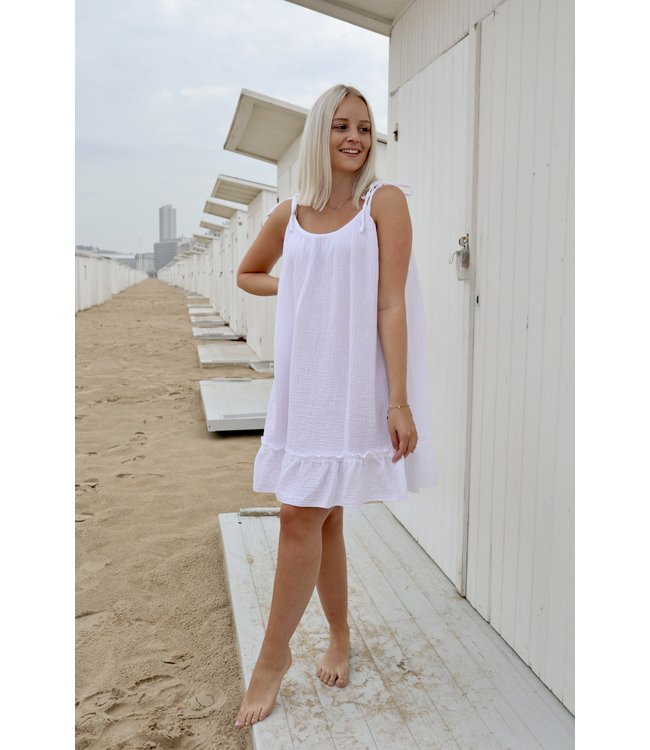 Tetra flounce dress - white