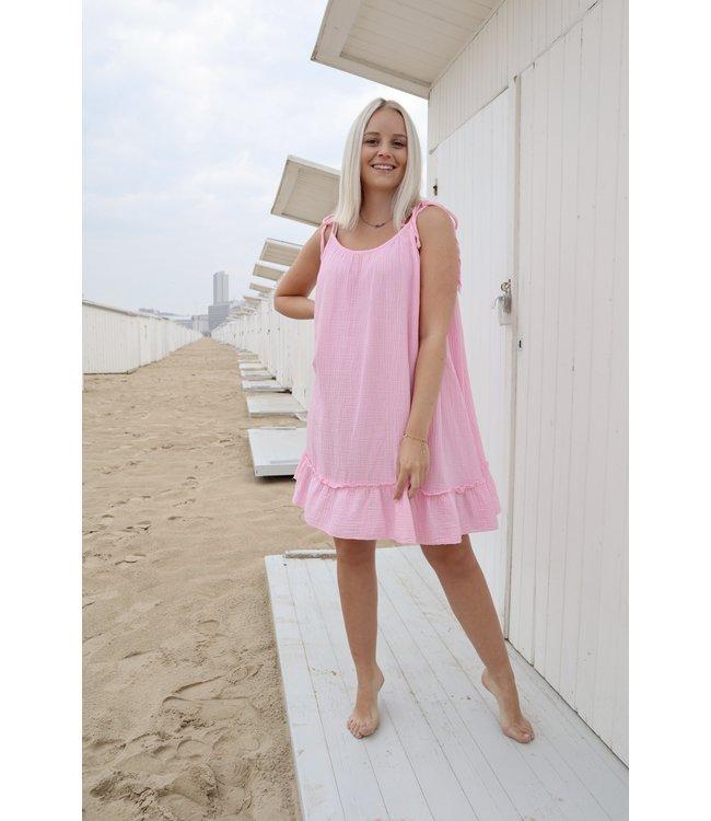 Tetra flounce dress - pink