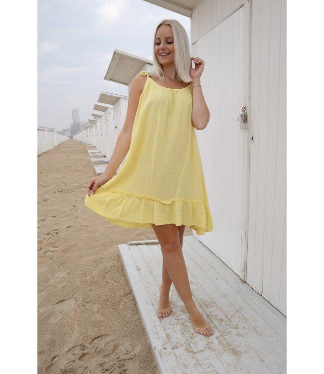 Tetra flounce dress - yellow