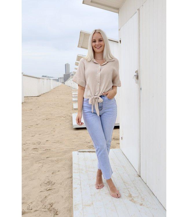 Tetra knot blouse - nude