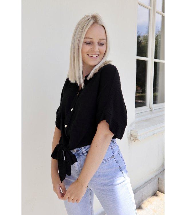 Tetra knot blouse - black