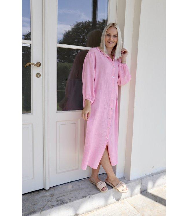 Isa button tetra dress - pink