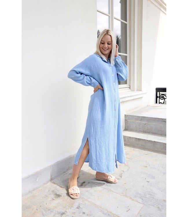 Button tetra dress - sky blue