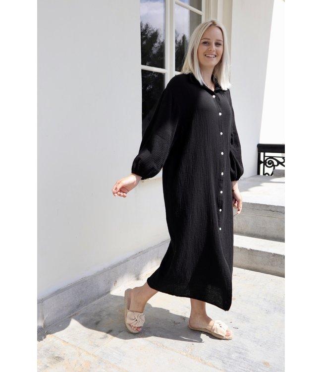 Button tetra dress - black