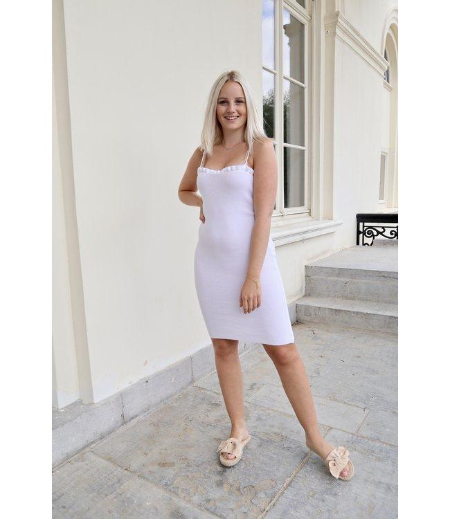 Silhouette ruches dress - white