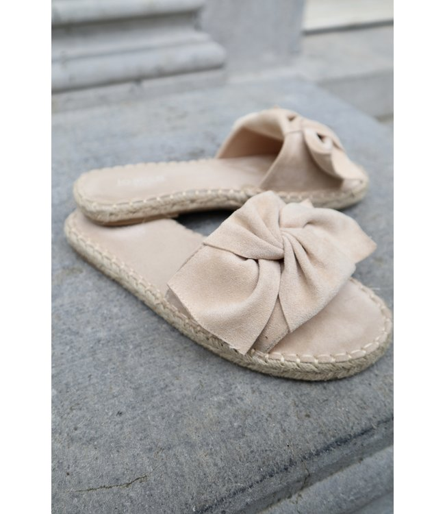 Bouclé slippers - nude